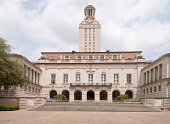 Horizontal image of the University of Texas clock tower on a cloudy day. Other scenes from Texas: