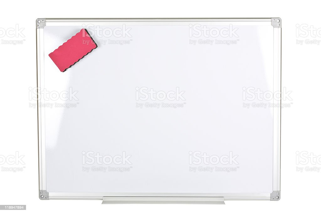 Horizontal Magnet Whiteboard over White Background with a Magnet Eraser stock photo