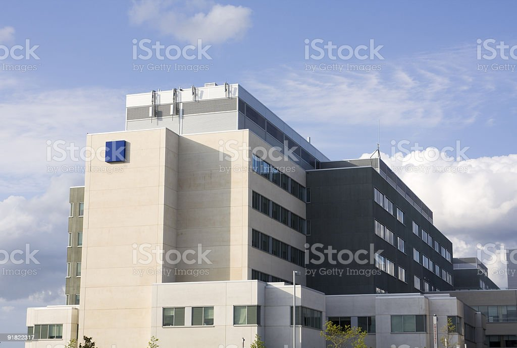 Horizontal Modern Hospital and sky royalty-free stock photo