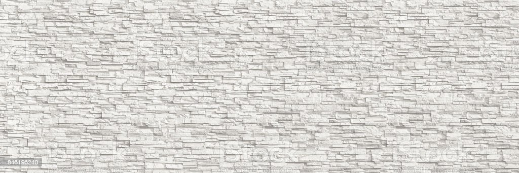horizontal modern white brick wall for pattern and background stock photo