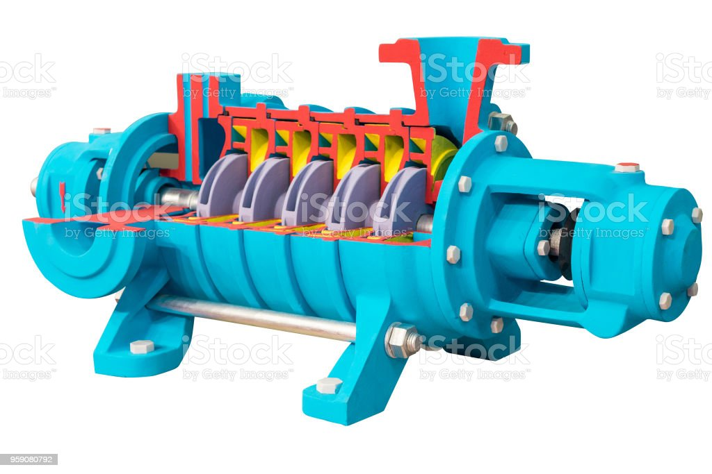Horizontal multi-section water pump, cross-section. The internal device is shown stock photo