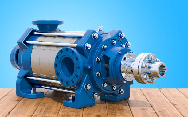Horizontal multistage centrifugal pump on the wooden table, 3D rendering Horizontal multistage centrifugal pump on the wooden table, 3D rendering centrifuge stock pictures, royalty-free photos & images
