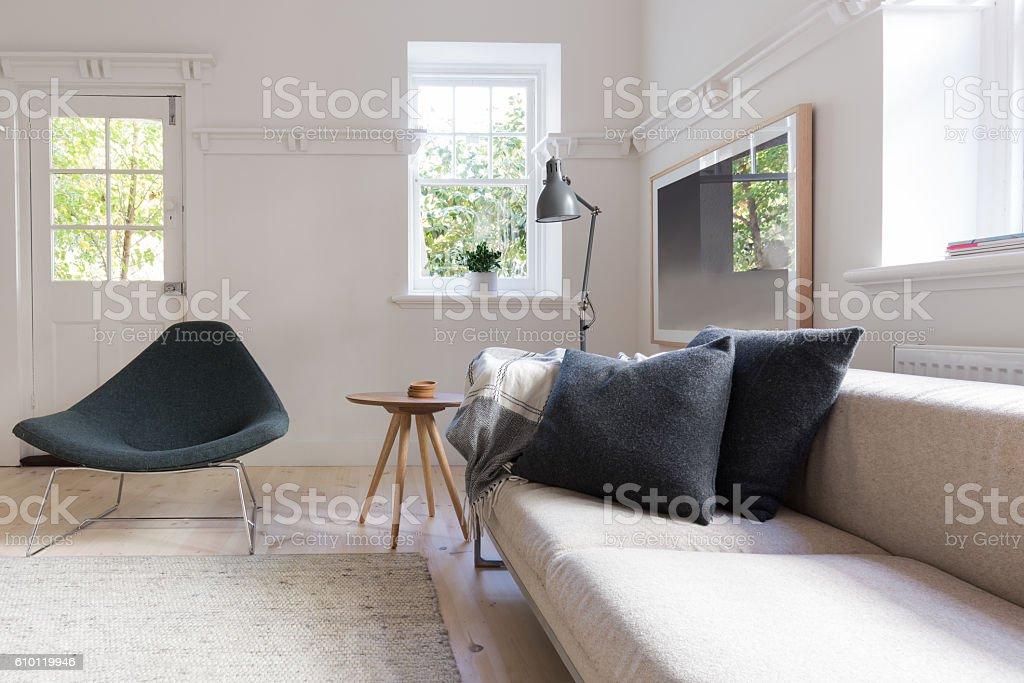 Horizontal of luxury neutral interior living room stock photo
