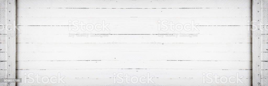 Fondo retro blanco vintage panorámica horizontal con tablones de madera - Foto de stock de Blanco - Color libre de derechos