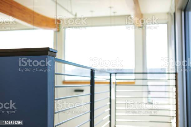 Horizontal Pattern Modern Stair Rail Landing In Corporate Business Office Stock Photo - Download Image Now