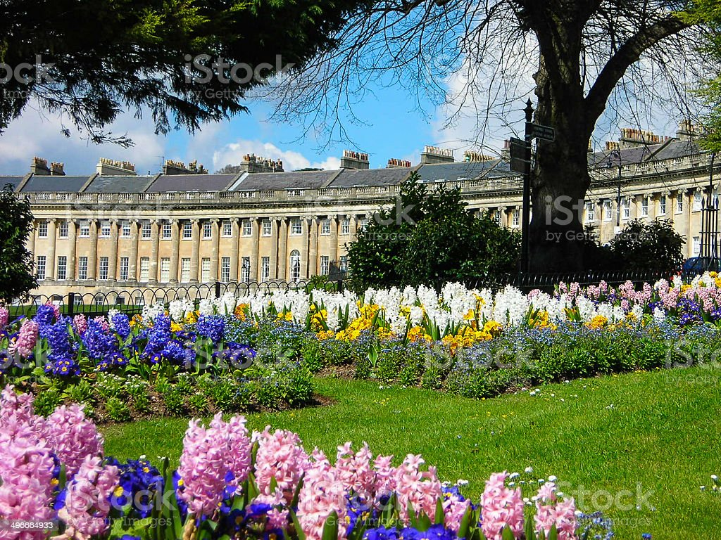 Horizontal Photo Spring Flowers And Historic Old Apartments Bath
