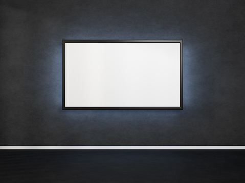 Horizontal picture hanging on dark concrete wall. Poster with a black frame. 3D rendering mockup of tv with a backlight