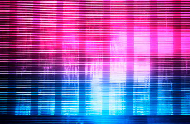 Horizontal pink and blue retro wave lines texture background stock photo