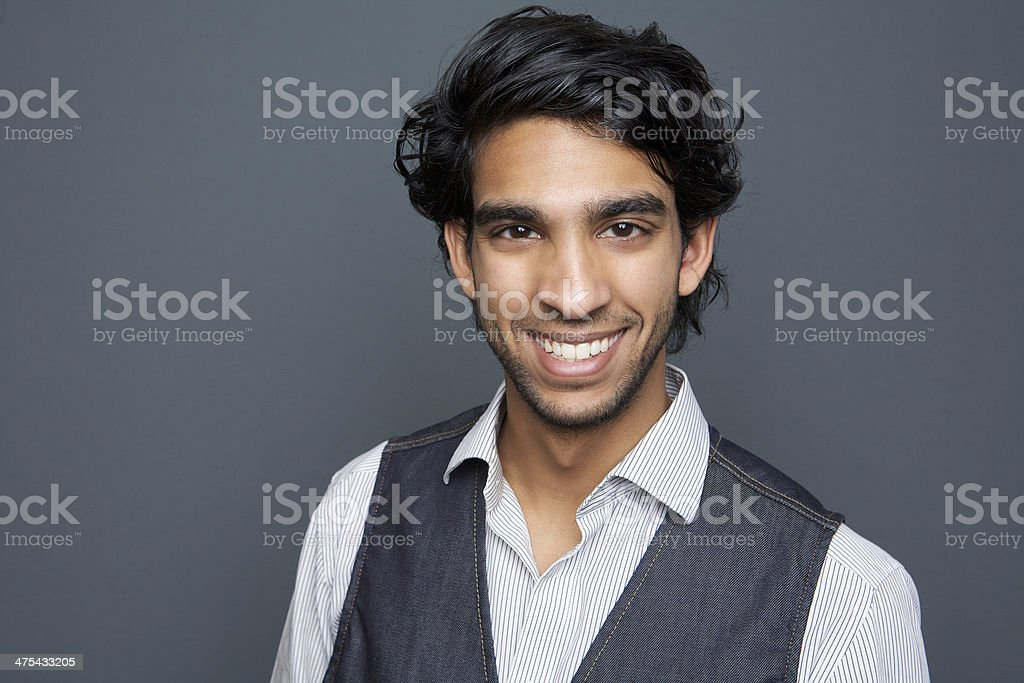Horizontal portrait of a happy young man stock photo