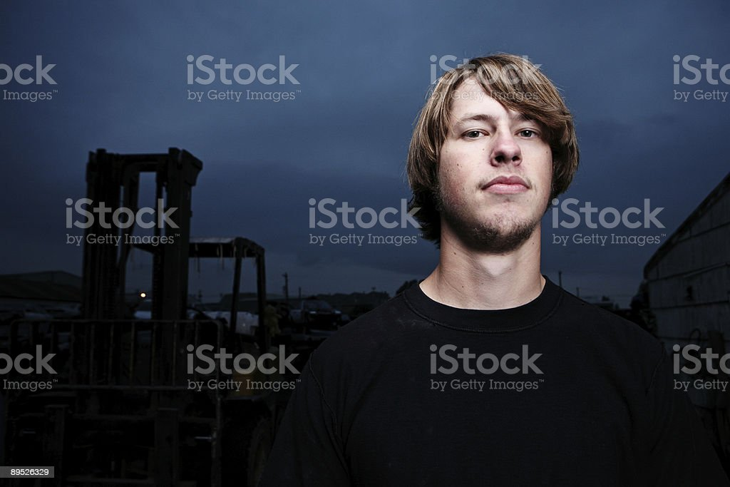 Horizontal Portrait of Man at Night royalty-free stock photo