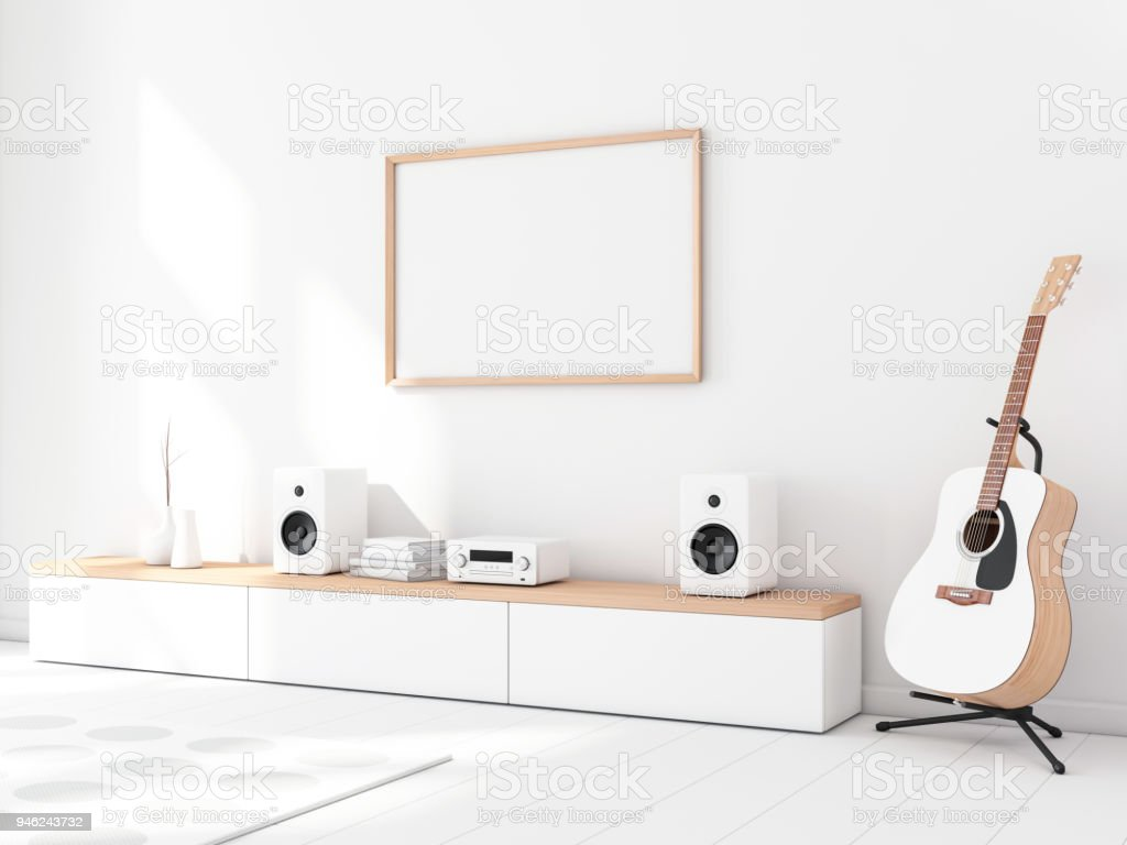 Horizontal poster wooden frame mockup in modern interior with