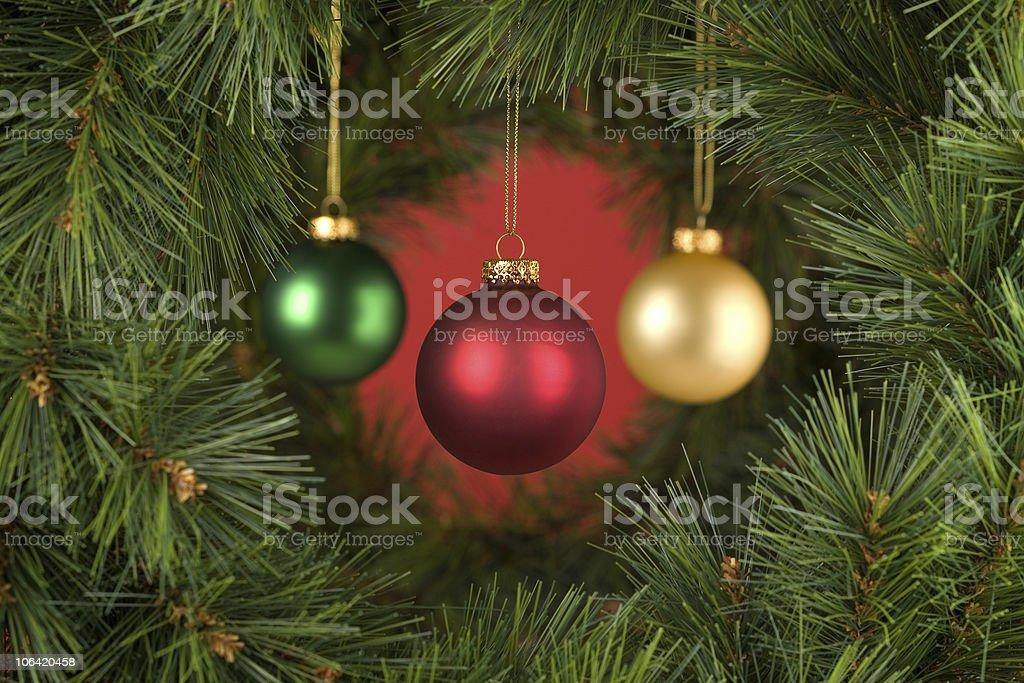 Horizontal Red Christmas Decorations Scene stock photo