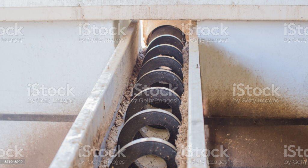 Horizontal screw conveyor stock photo