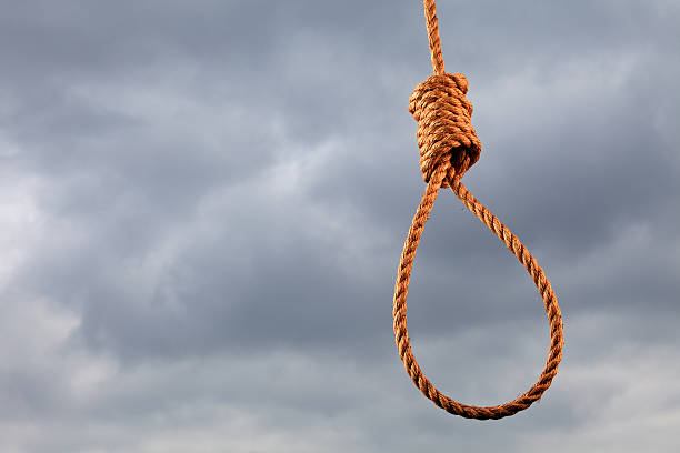 horizontal shot of a noose and stormy sky. - noose stock photos and pictures