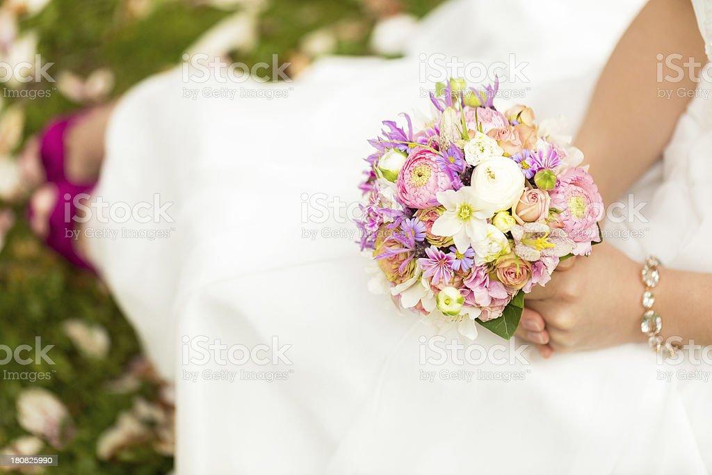 Horizontal shot of wedding bouquet royalty-free stock photo