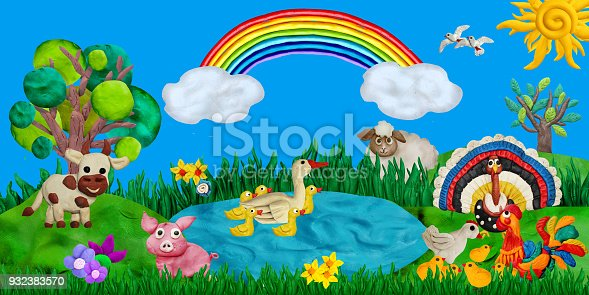 624869600 istock photo Horizontal summer banner or header for kids sites with 3d rendered farm animals 932383570