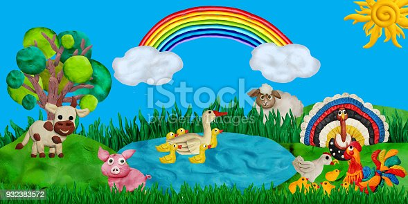 624869600 istock photo Horizontal summer banner or header for kids sites with 3d rendered farm animals 932383572