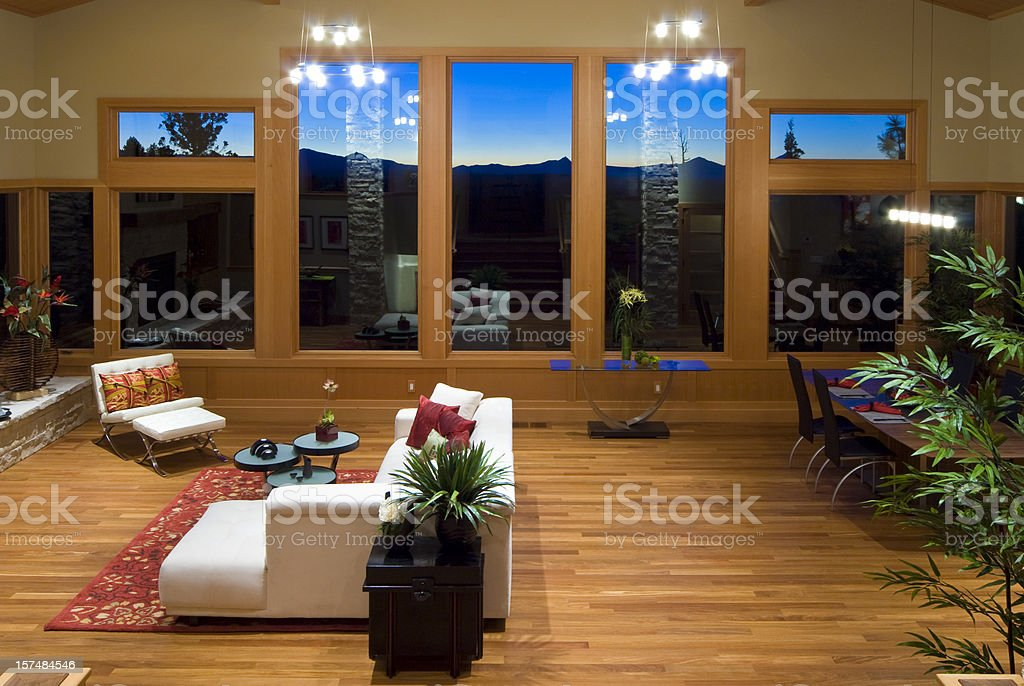 Horizontal, sunset, modern asian living room stock photo