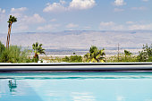 Horizontal Swimming pool with a view of the desert mountains