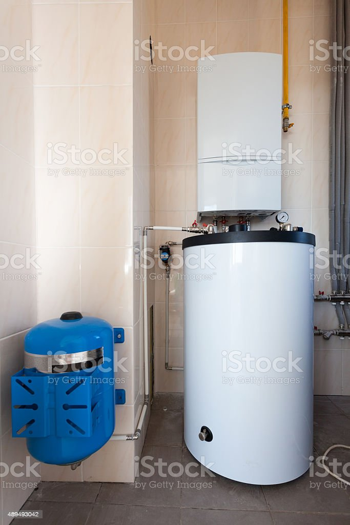 Horizontal view of boiler-house in the building stock photo