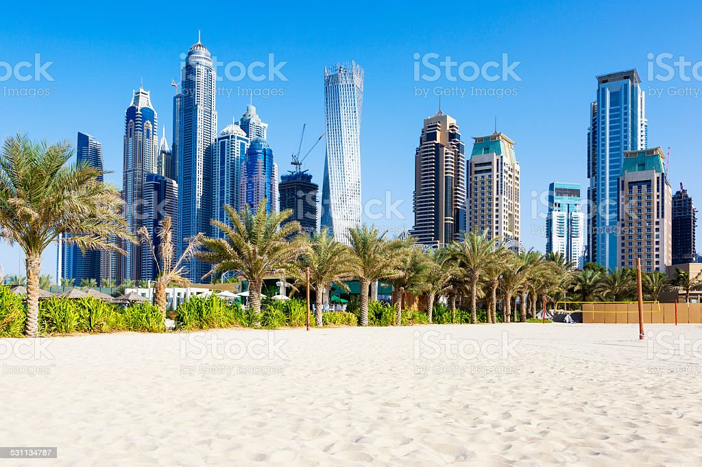 Horizontal view of skyscrapers and jumeirah beach stock photo