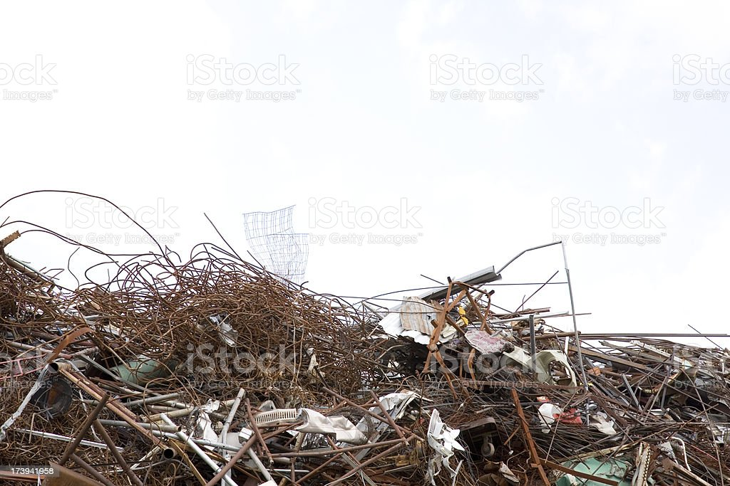 Horizontal View of Spare Metal Piles in Recycling Plant royalty-free stock photo