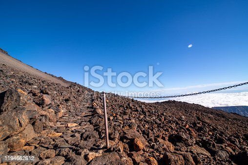 Horizontal View On Top of El Teide with Footpath and Volcanic Rock Formations, Tenerife, Canary Islands, Spain - stock photo