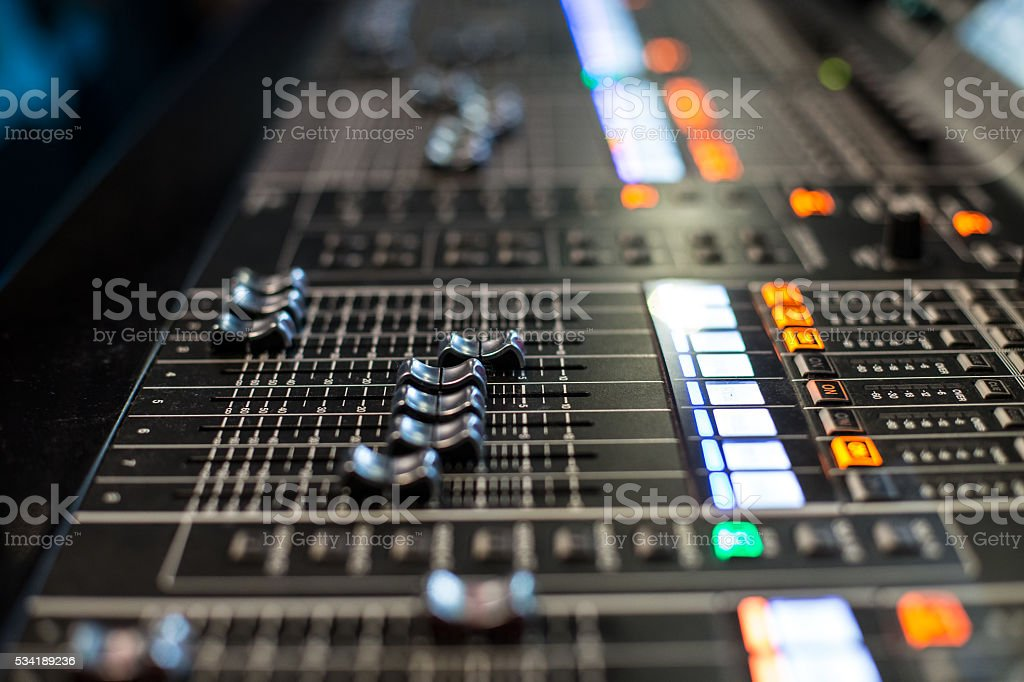 Horizontal view sliders of the sound controller stock photo