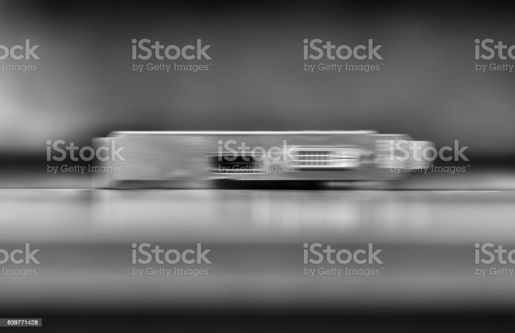 Horizontal vivid black and white computer board blurred bokeh ba stock photo