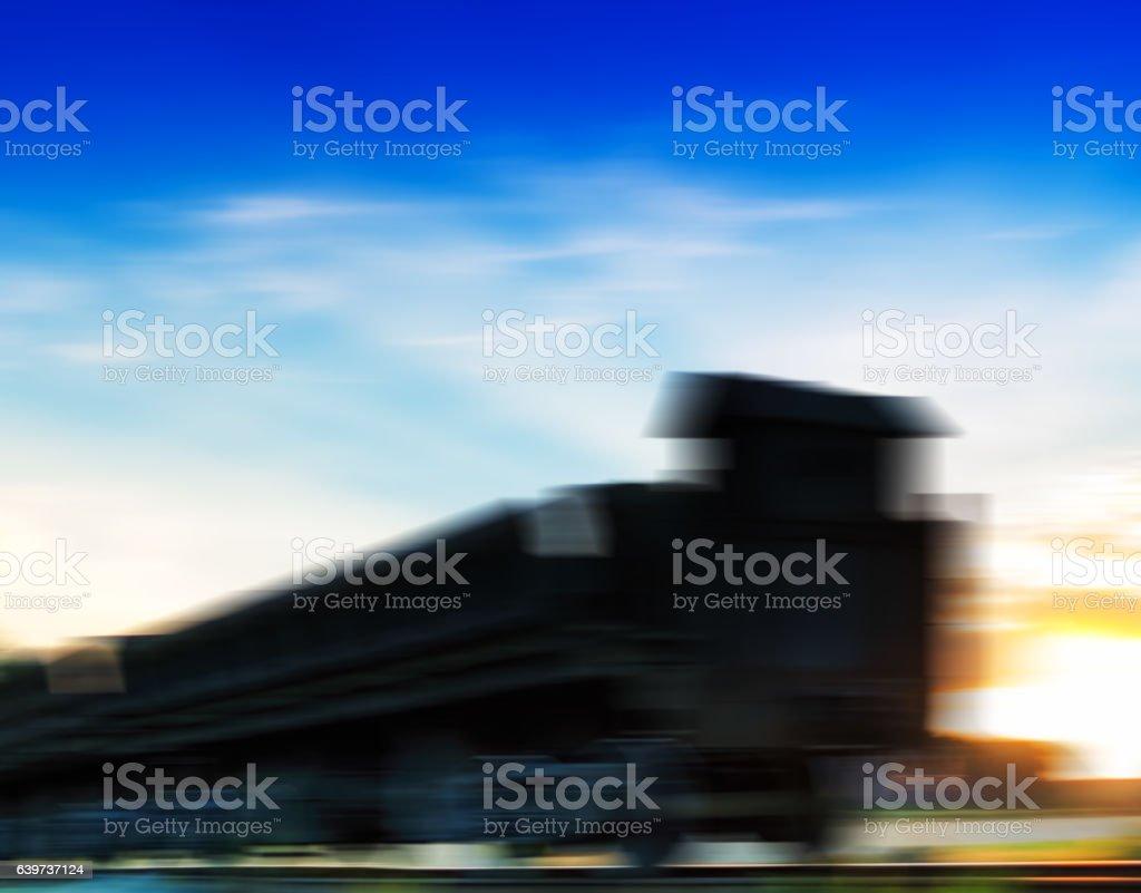 Horizontal vivid cyberpunk train motion abstraction background b stock photo