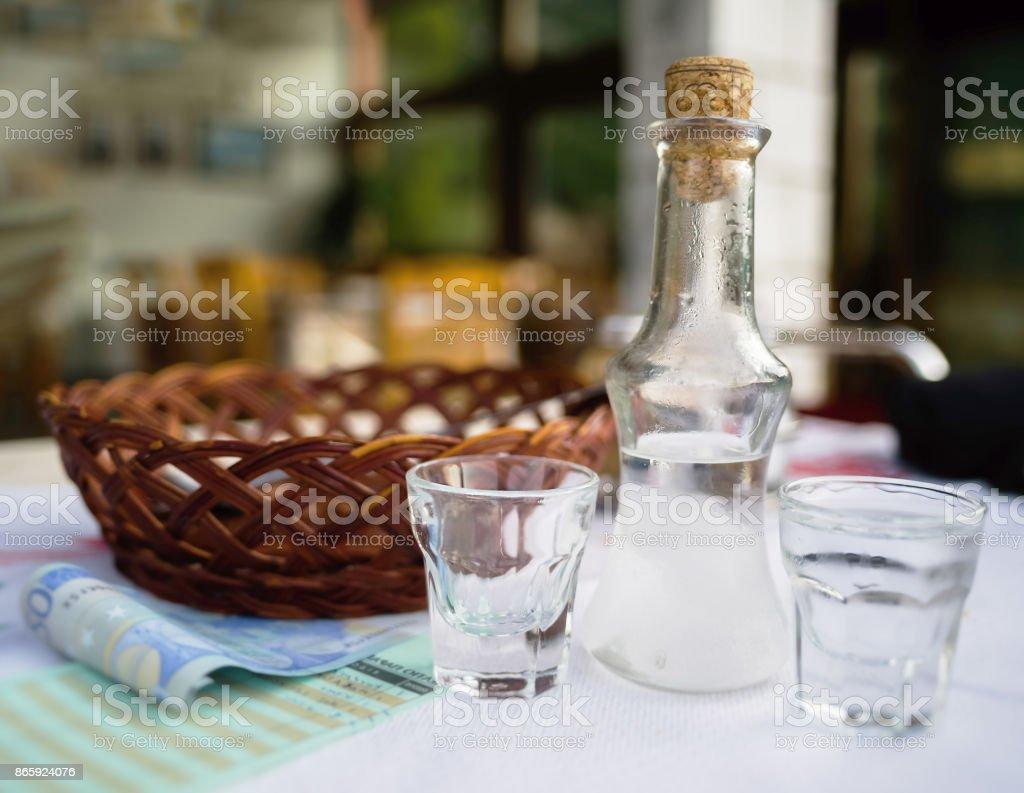 Horizontal vivid Greece raki cafe background backdrop stock photo