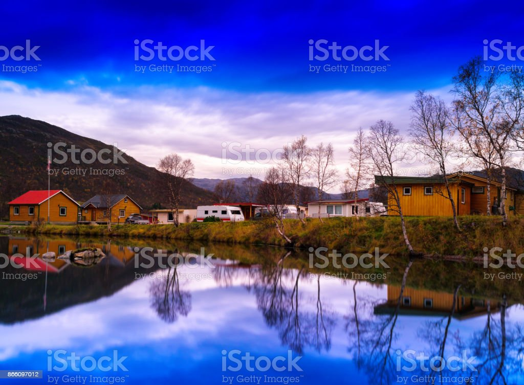 Horizontal vivivd Norway camping landscape background backdrop stock photo