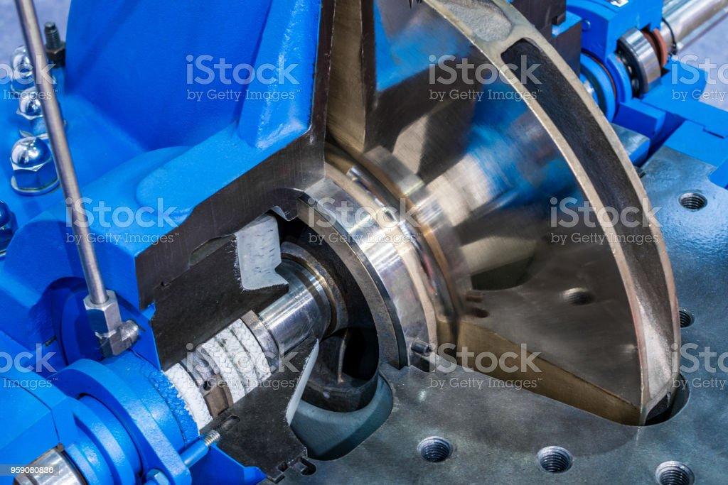 Horizontal water pump, cross section stock photo