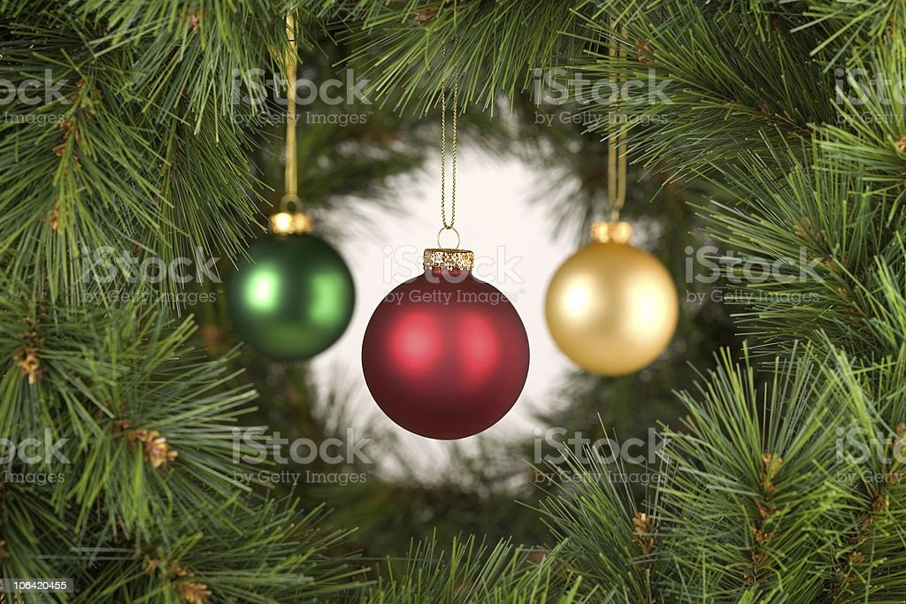 Horizontal white Christmas Decorations Scene stock photo