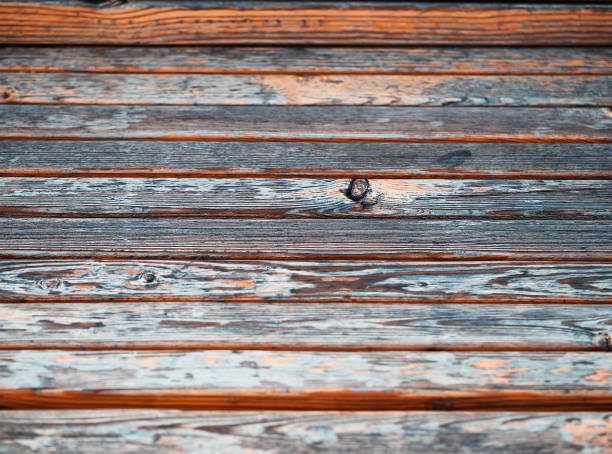 Horizontal wooden bench with twig texture background stock photo