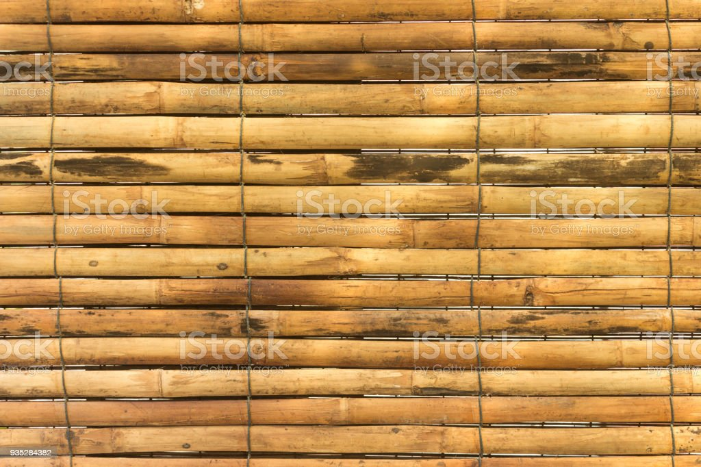 horizontal yellow bamboo for background texture stock photo