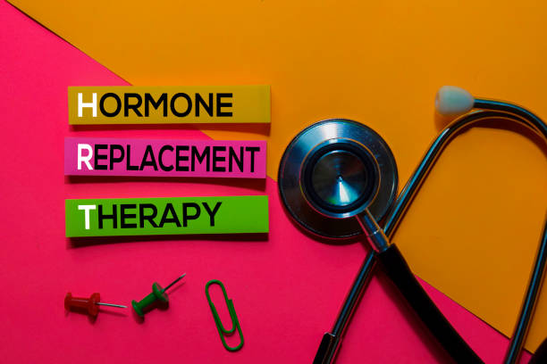 HRT. Hormone Replacement Therapy acronym on sticky notes. Office desk background stock photo
