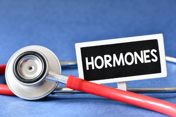 hormoner. medecine koncept. blackboard med ord hormoner och stetoskop - hormon bildbanksfoton och bilder