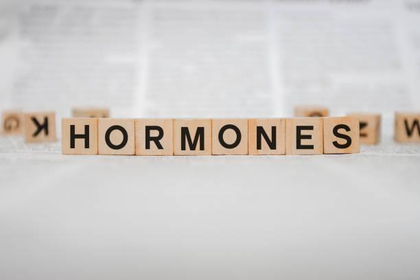 Hormones Word Written In Wooden Cube stock photo