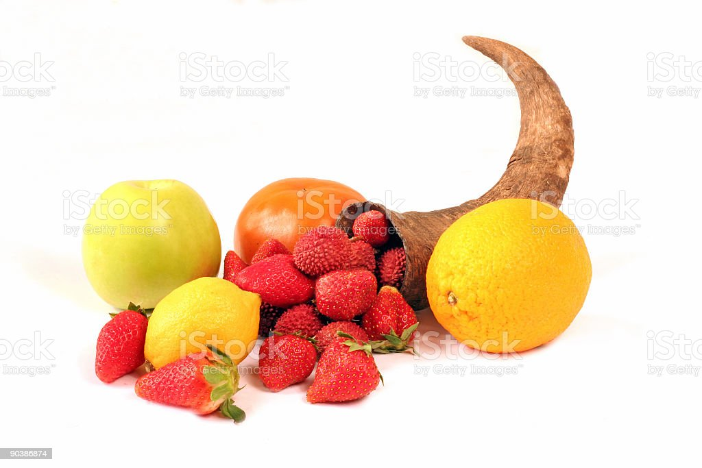 horn of abundance with fruits royalty-free stock photo