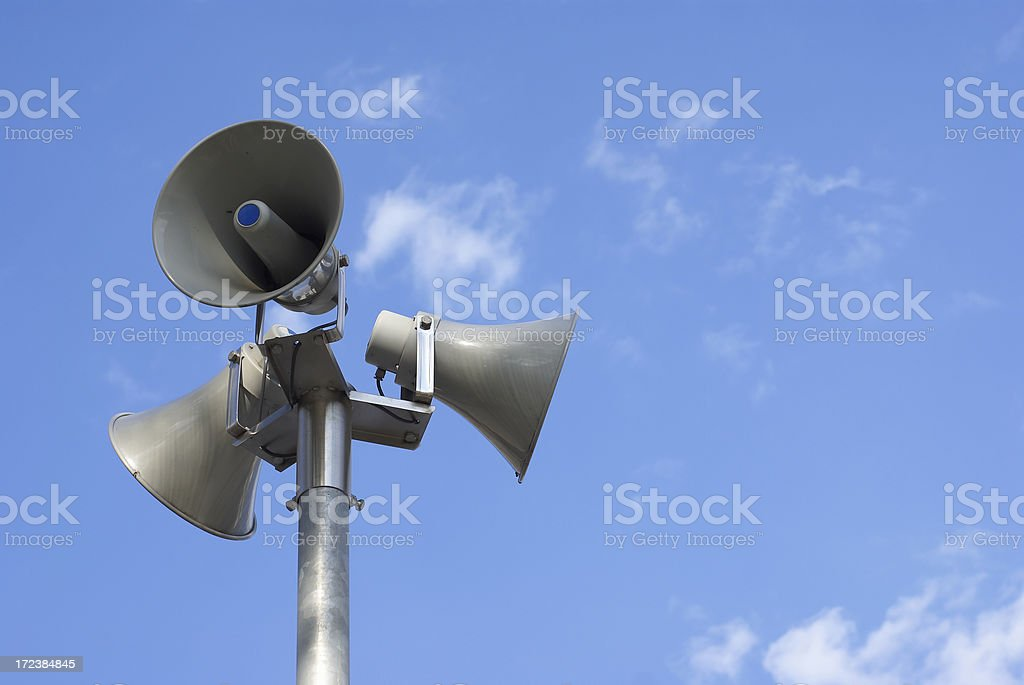 Horn speakers stock photo