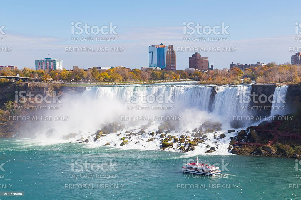 Hornblower Boat and American Falls stock photo