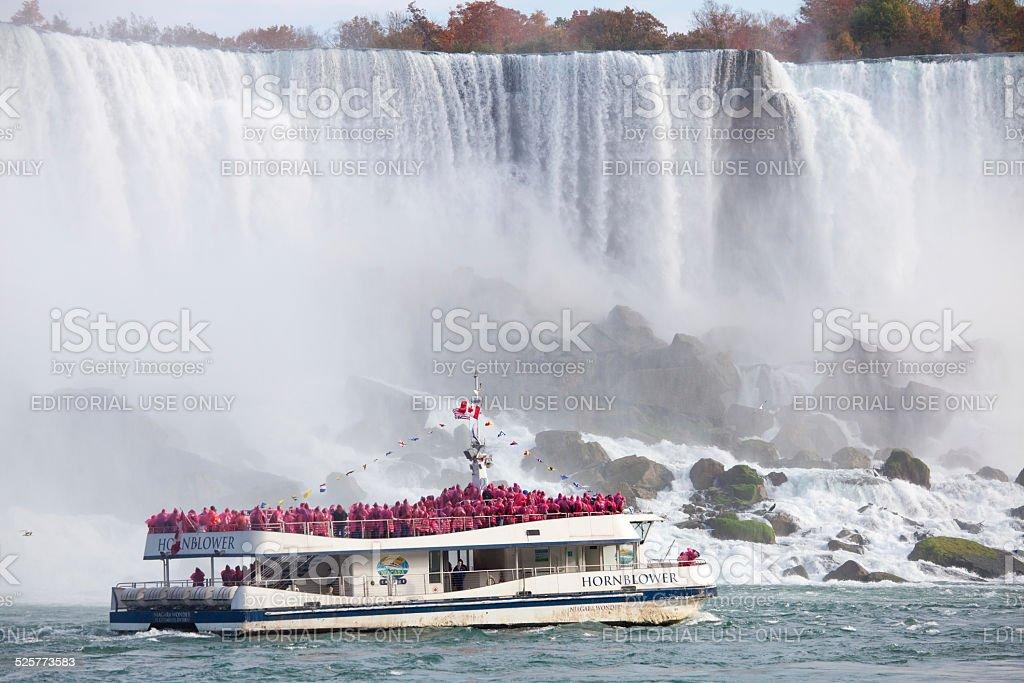Hornblower Boat at Niagara Falls stock photo