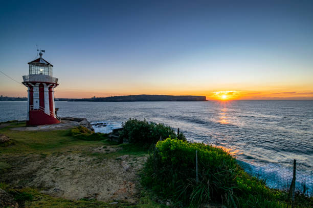Hornby_lighthouse_sunrise_headland stock photo