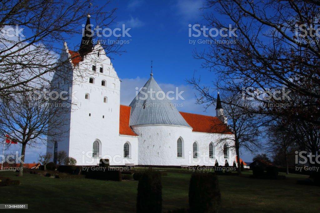 Horne Kirke - Medieval Round church stock photo