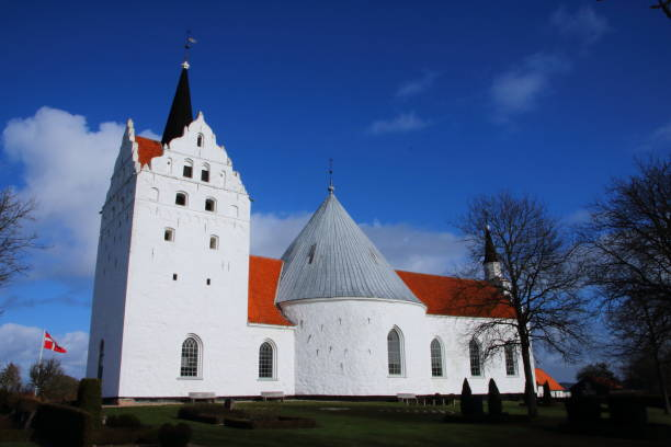horne kirke - medieval round church - pejft stock photos and pictures