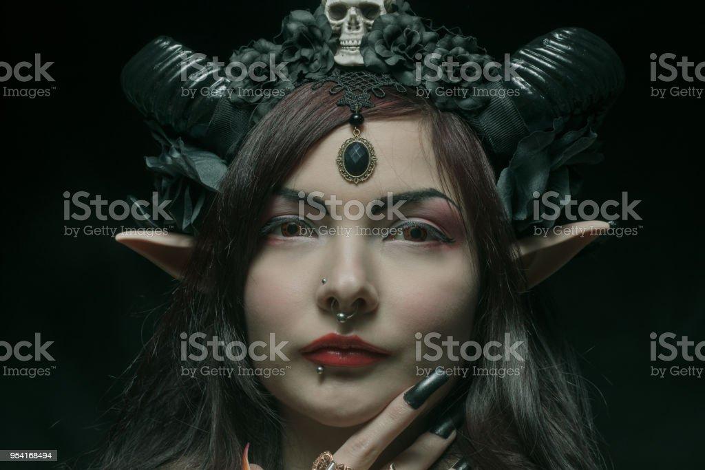 Horned asian girl stock photo
