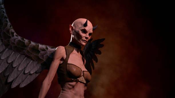 Horned female demon posing over red dark background stock photo