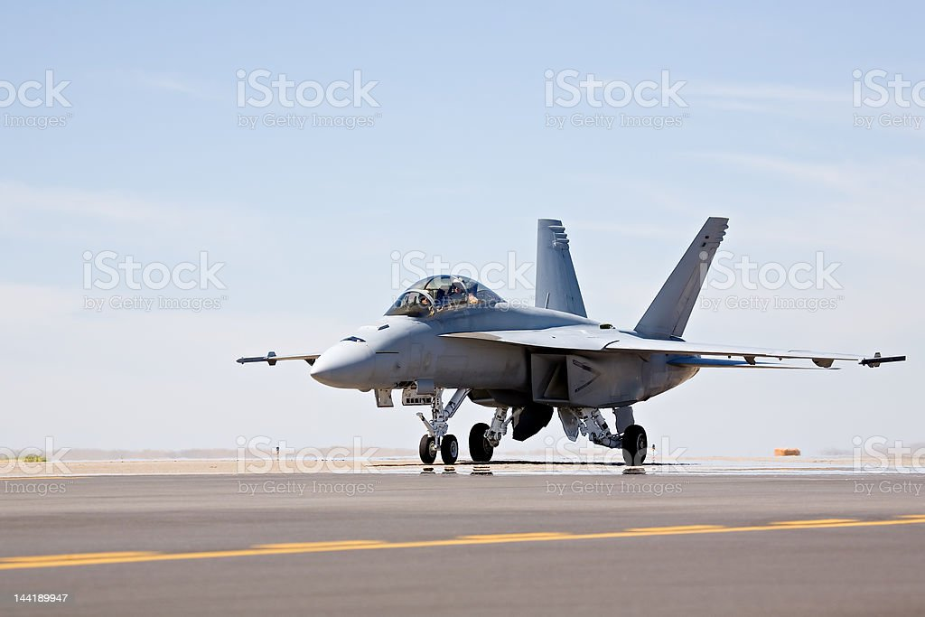 F-18 Hornet taxiing royalty-free stock photo