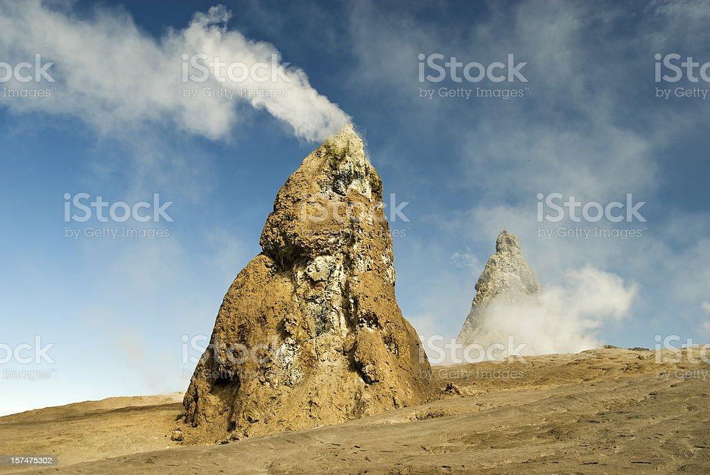 Hornitos at Ol Doinyo Lengai, holy mountain of the Masai stock photo